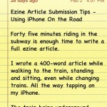 Using iPhone 4 to Submit Ezine Articles