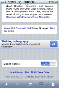 Mobile Ezine Articles Site