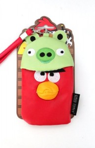 Red Angry Bird and Green Pig Leather Pouch Case for iPhone