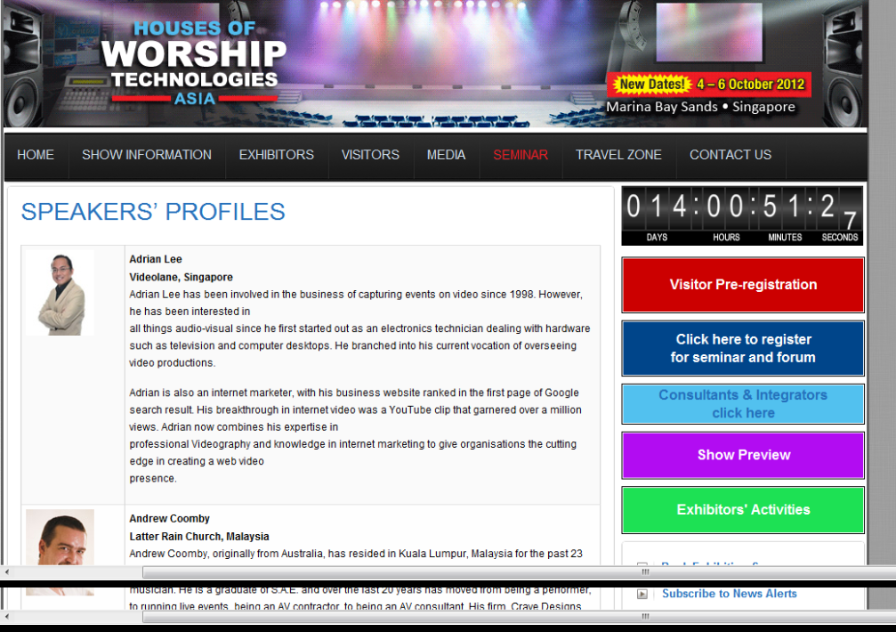 Adrian Lee Speaker Profile - Houses of Worship Technologies Asia Seminar