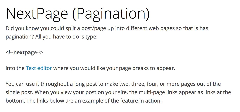 How to insert a page break in wordpress to break a long post?