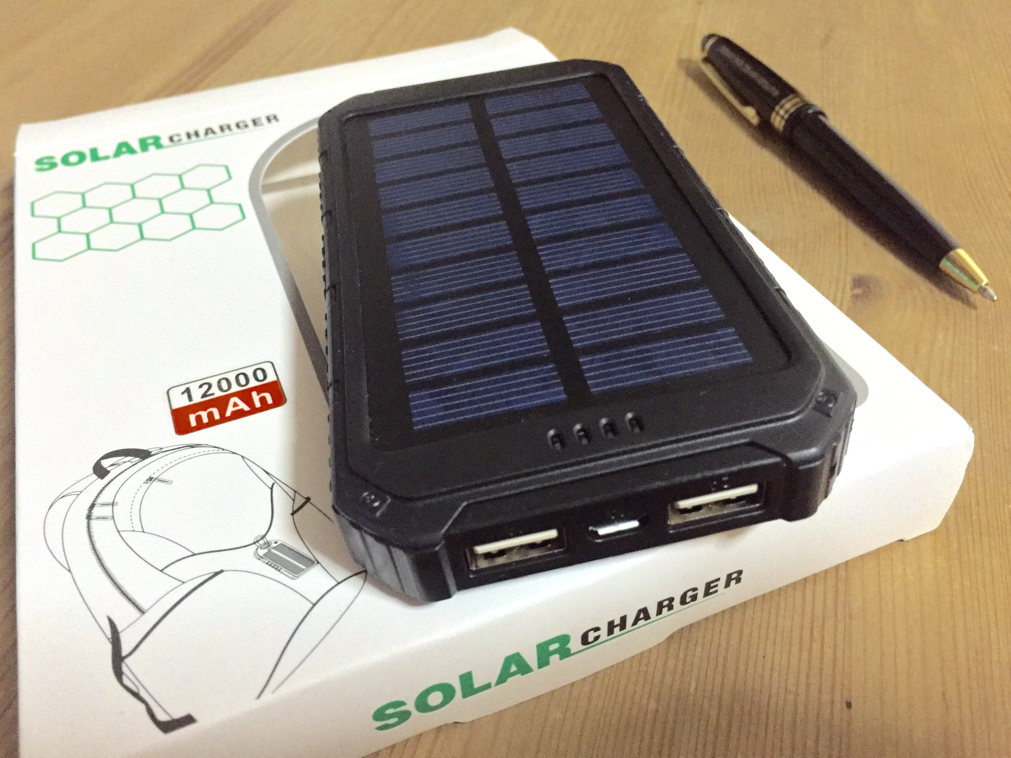 portable 12000mah solar power bank testing adrian video. Black Bedroom Furniture Sets. Home Design Ideas