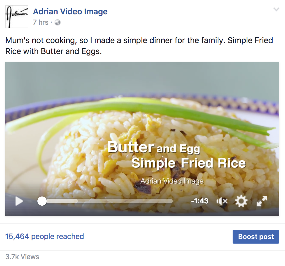 Cooking Video on Facebook-7hrs