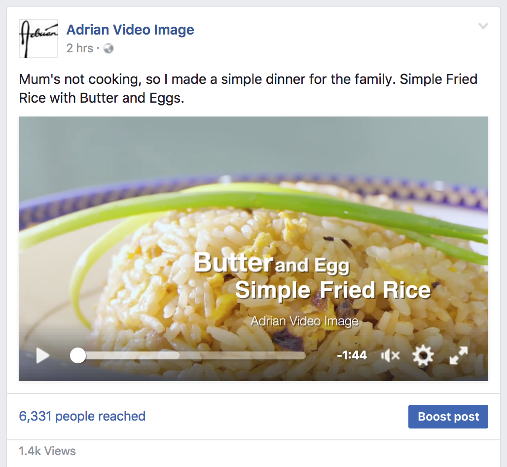 Cooking Video on Facebook