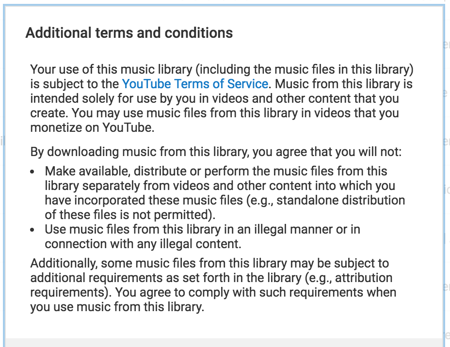 YouTube Audio Library Additional Terms and Conditions.png