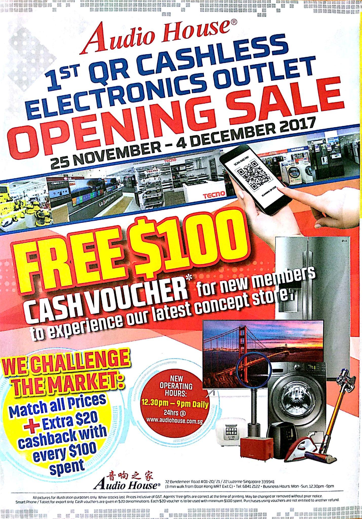 1st QR Cashless Elecrtronics Outlet Opening Sale   25 Nov - 4 Dec 2017   Audio House   Brochure pg1