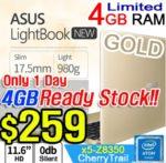 JUST $259 [ASUS] l200HA 4GB Ram ASUS 980g Lightbook Laptop / ultra-Slim 17.5mm /0db Silent products