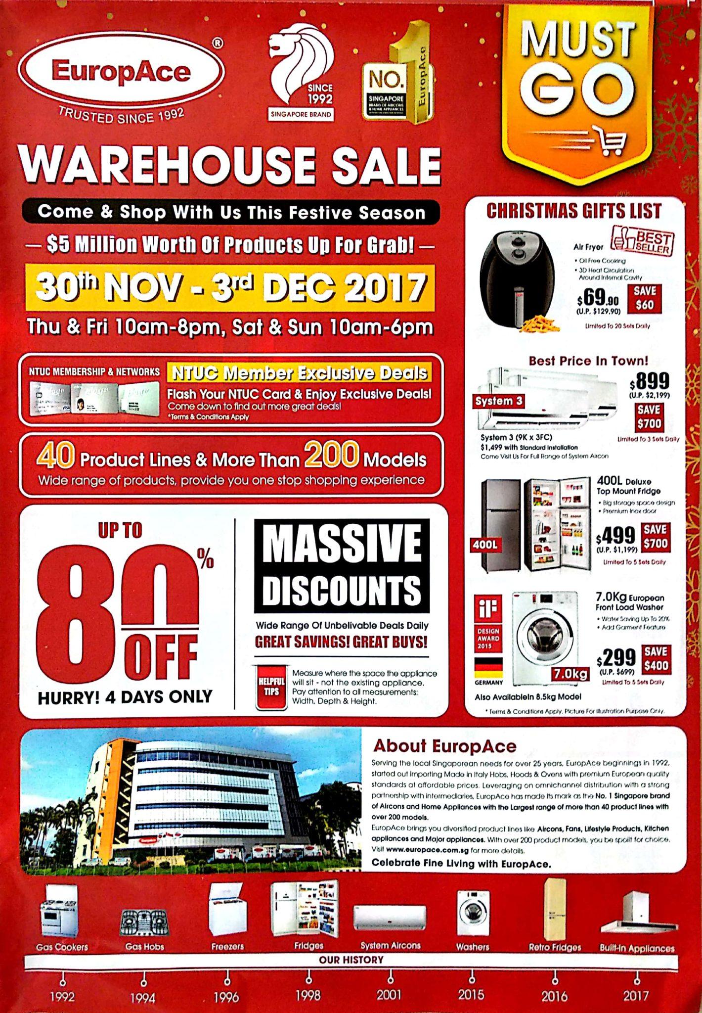 EuropAce Warehouse Sale | 30 Nov - 3 Dec 2017 | Brochure pg1