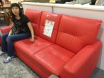 Wifey says this red sofa is comfortable.
