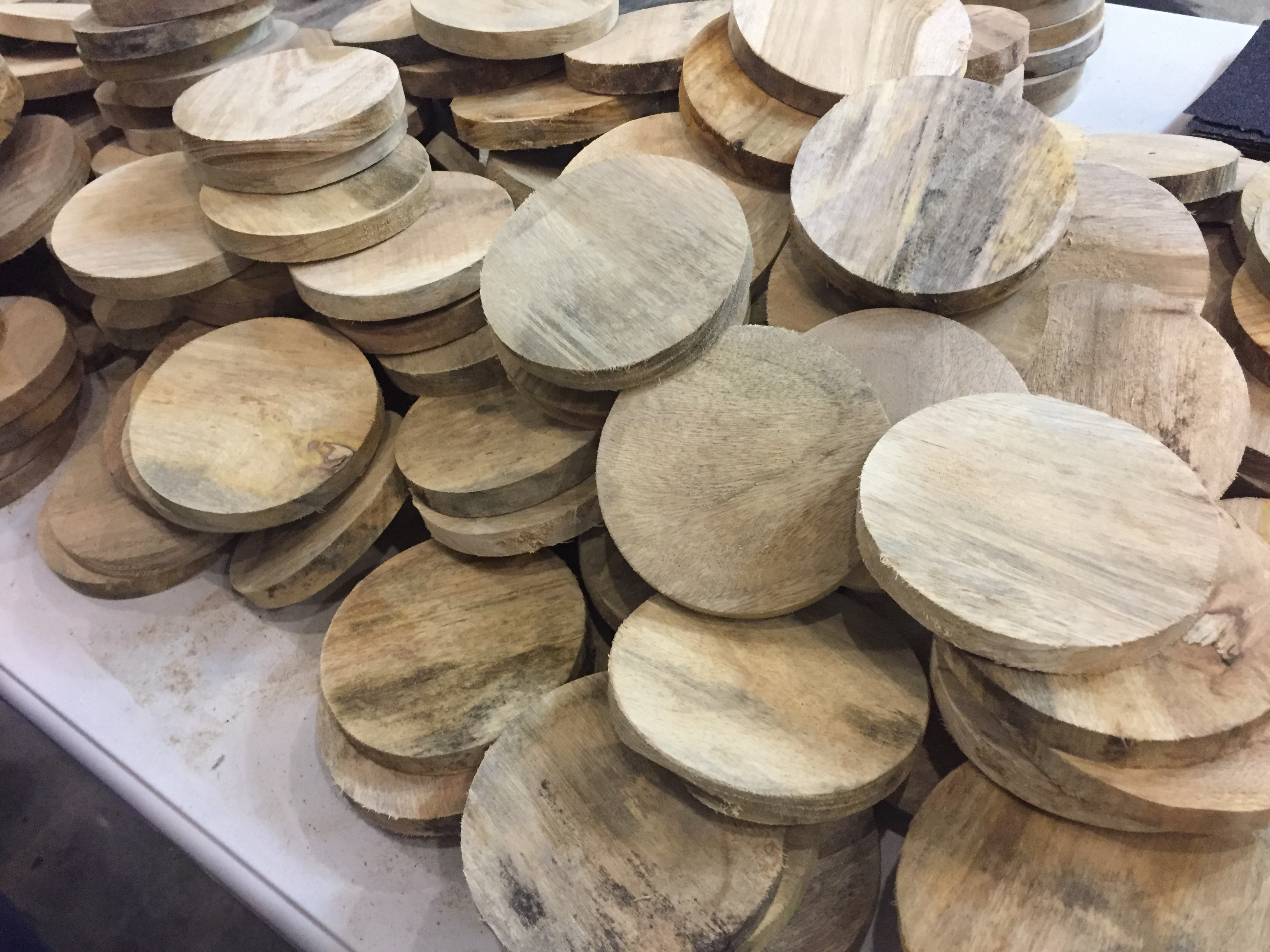 The pest repellent are round pieces of wood.