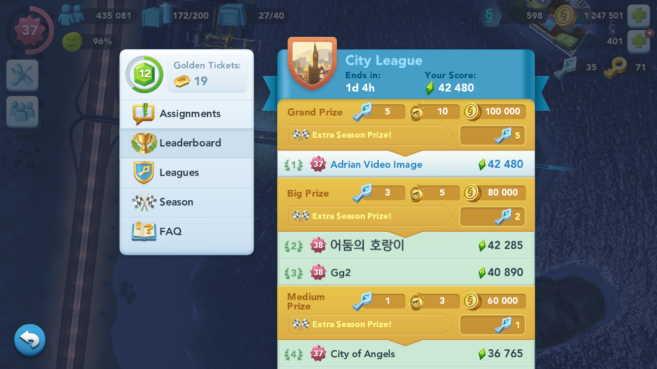 Number one in SimCity Buildit contest of mayors