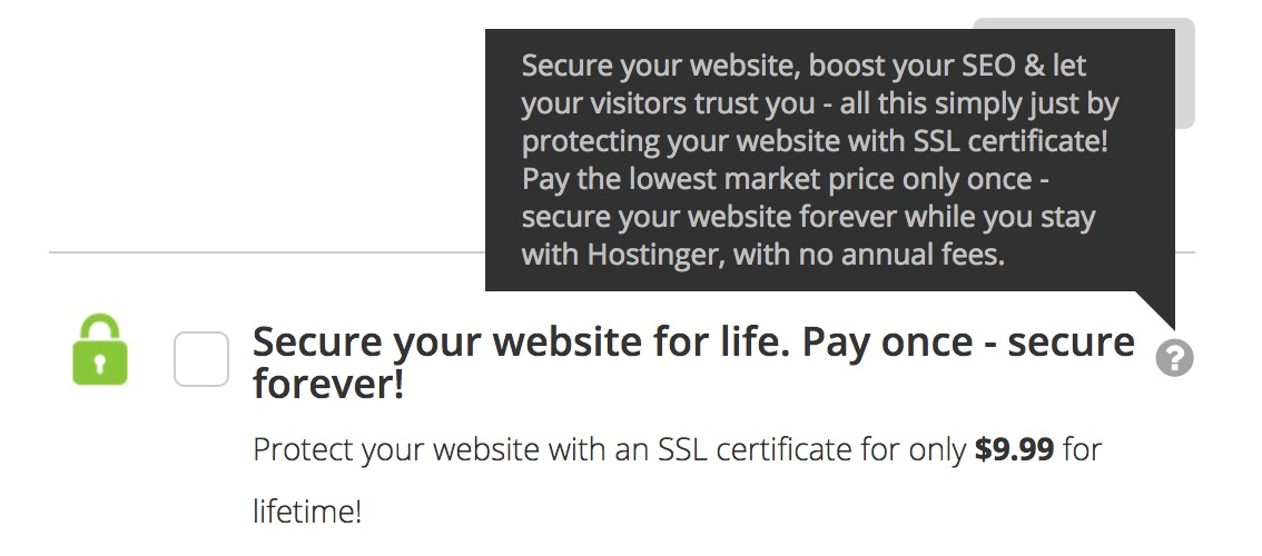 Hostinger SSL Certificate at a Low Fee for a Lifetime