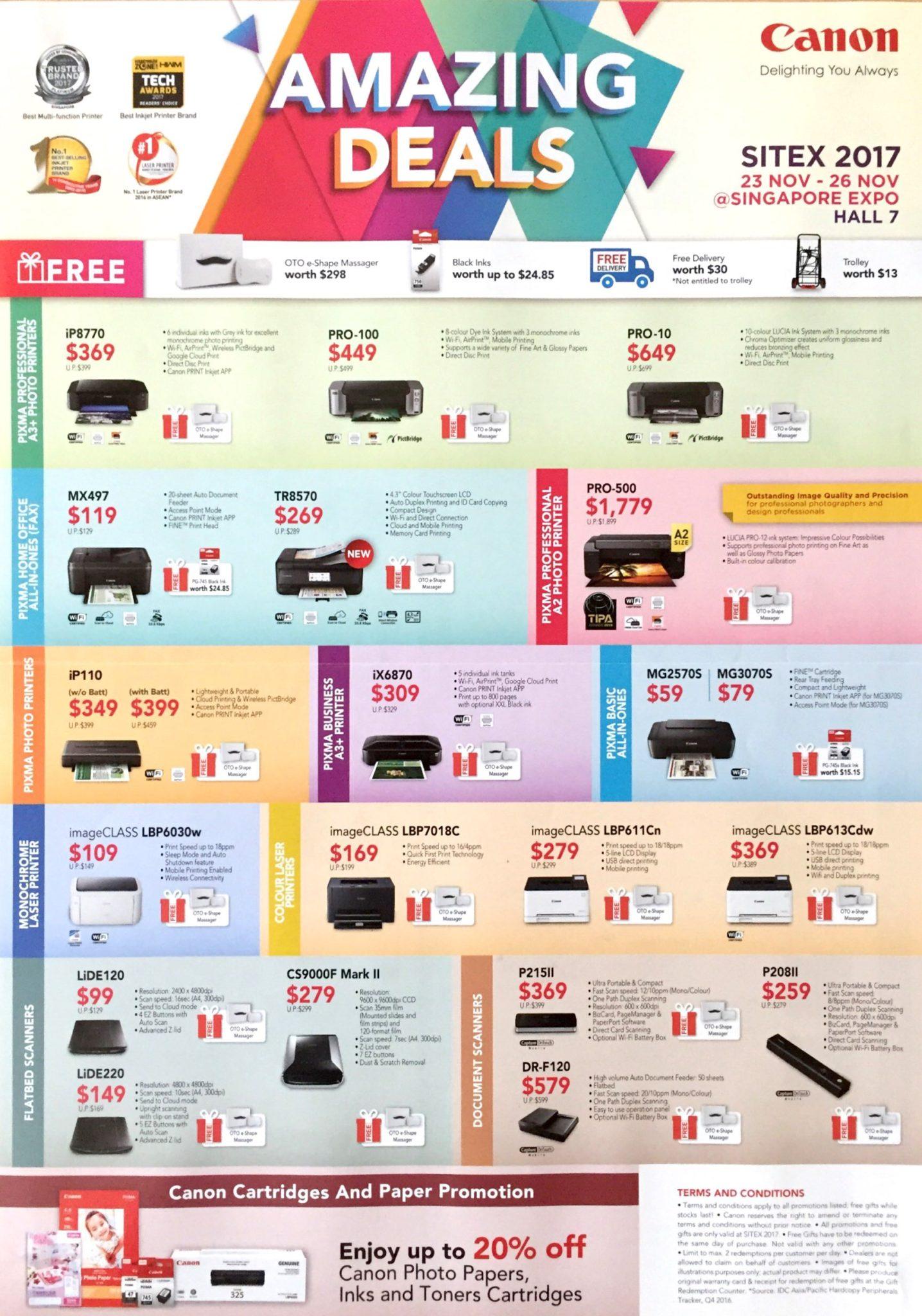 Canon Printer Deals @ SITEX 2017 | Brochure pg1
