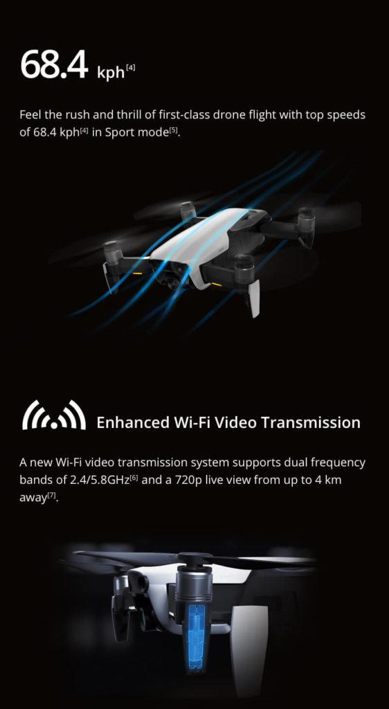 DJI Mavic Air - 68.4 km per hour in Sport Mode and Enhanced Wifi Video Transmission