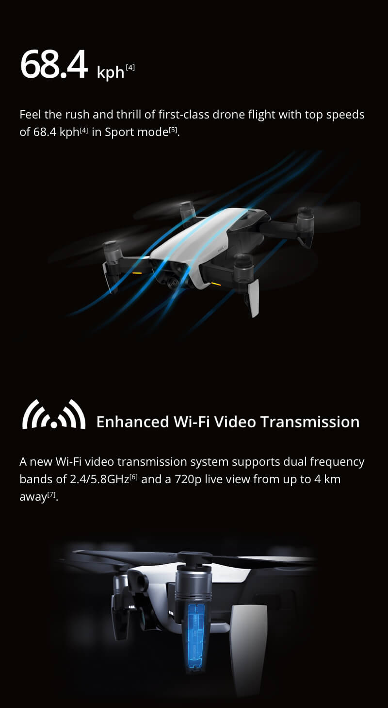 DJI Mavic Air - 68.4 km per hour in Sport Mode and Enhanced Wifi Video Transmission