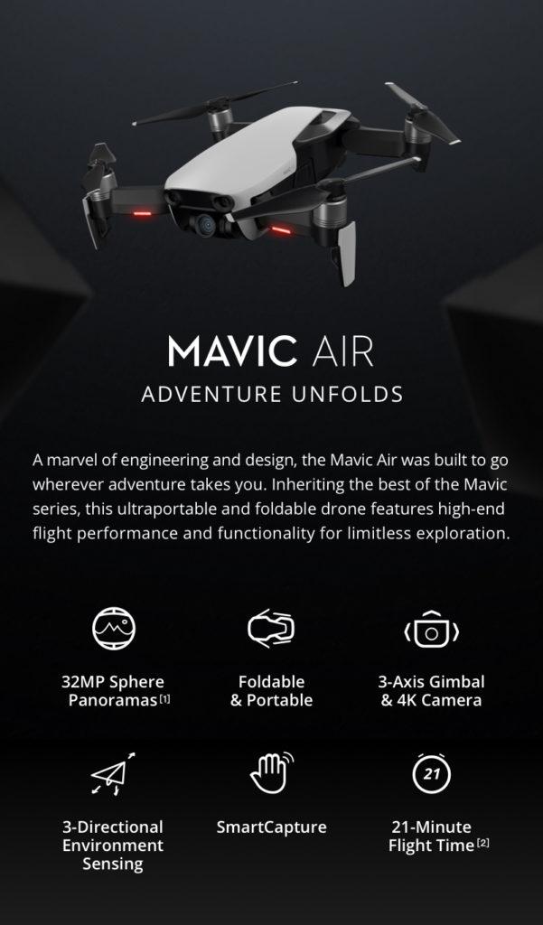 DJI Mavic Air Foldable Frone Features