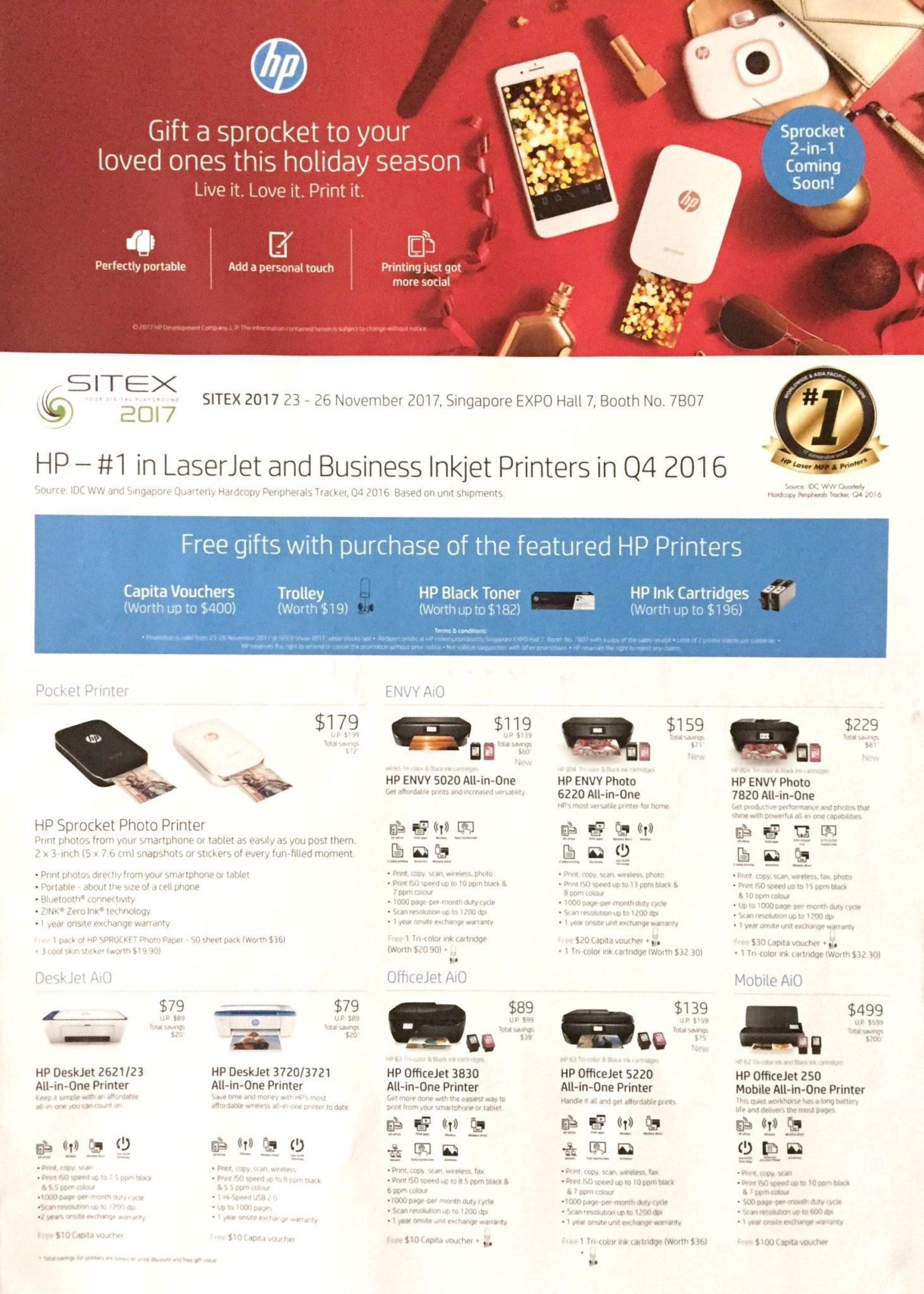HP Printer Deals @ SITEX 2017 | Brochure pg1