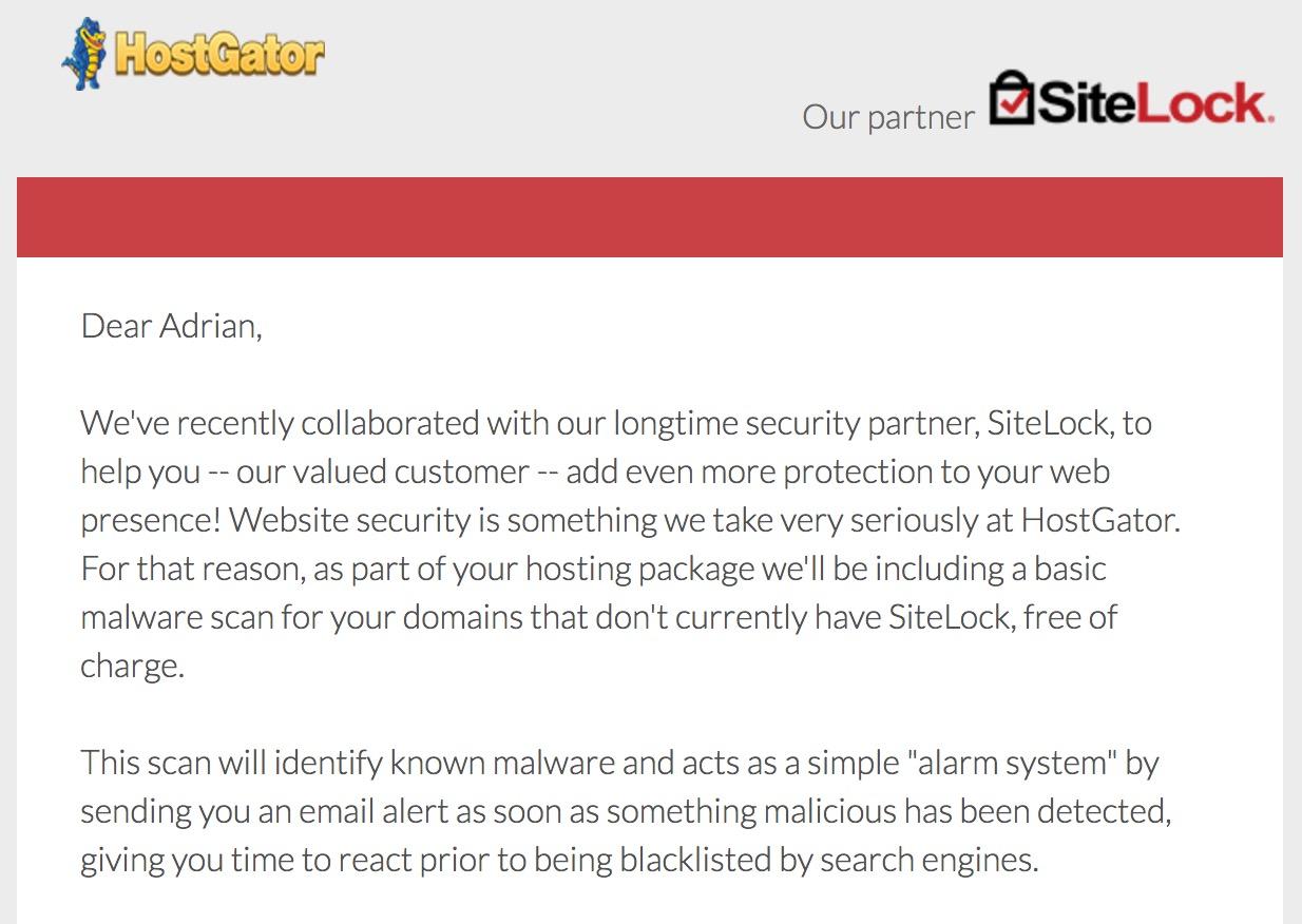 Hostgator Sitelock Free Basic Malware Scan
