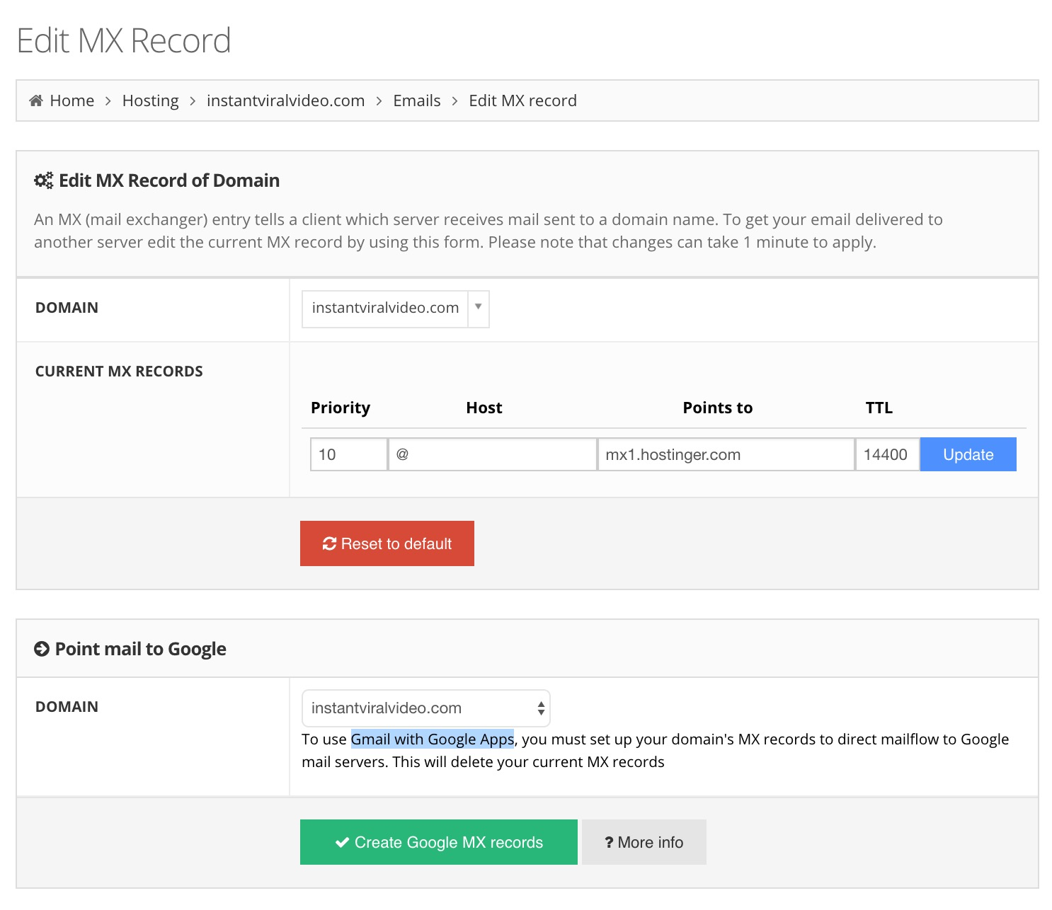 Hostinger Edit MX Record