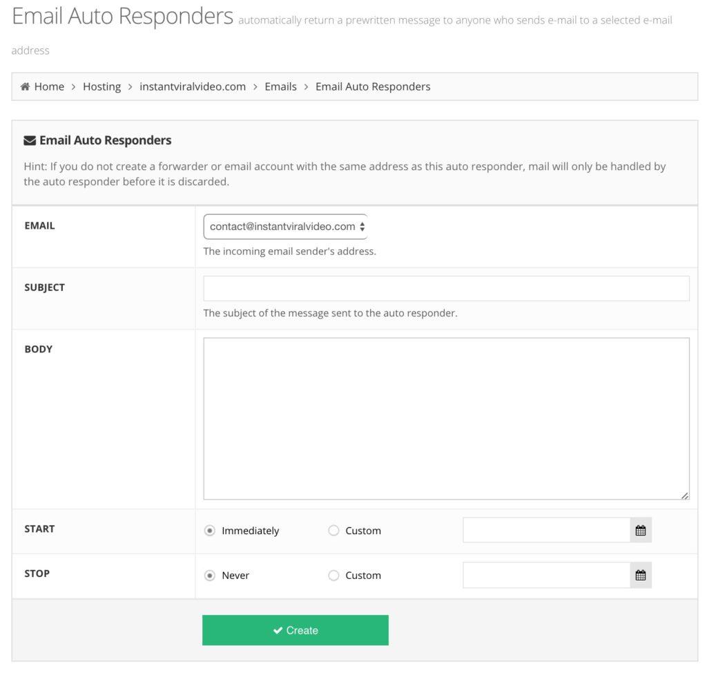 Hostinger Email Auto Responders