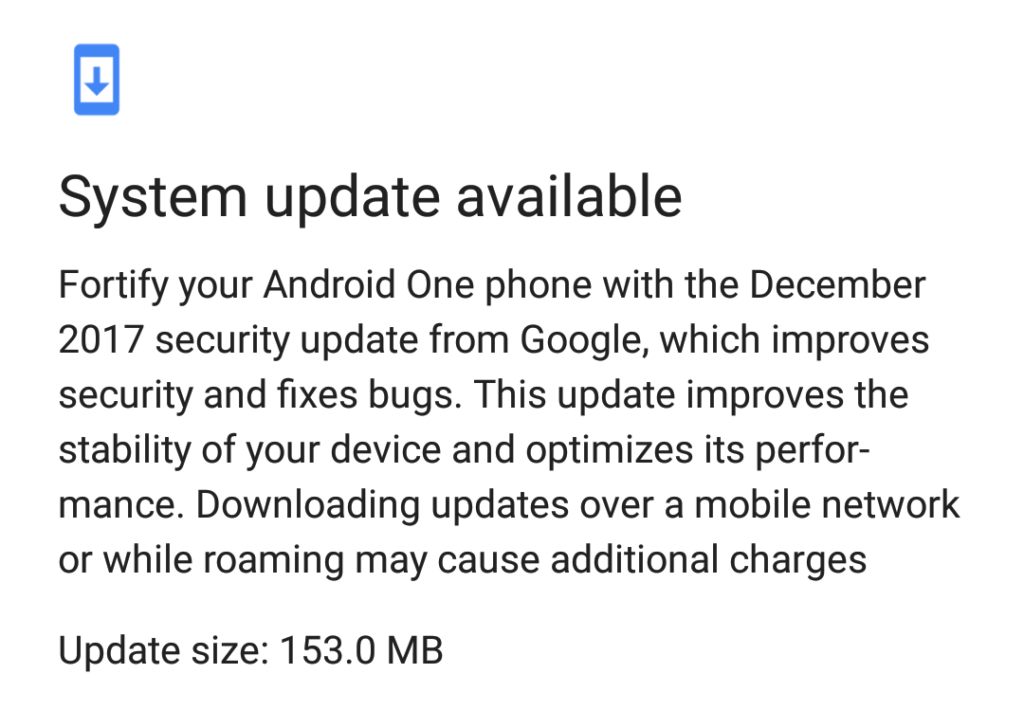 December 2017 Android One system update