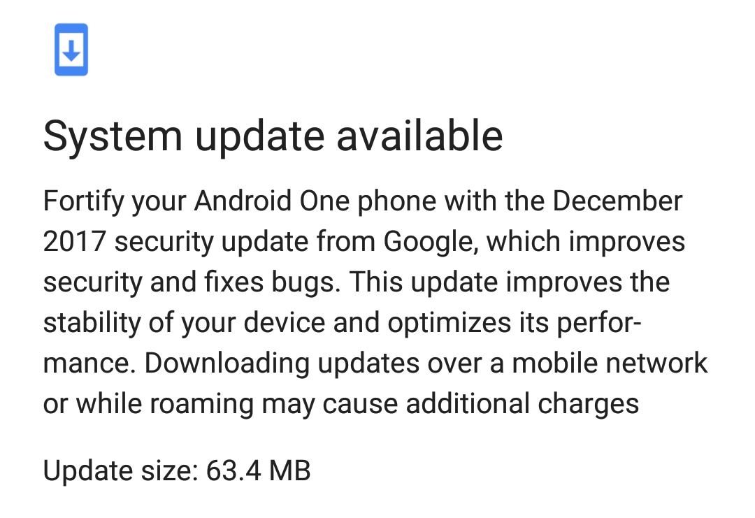 Another December 2017 Android One System Update