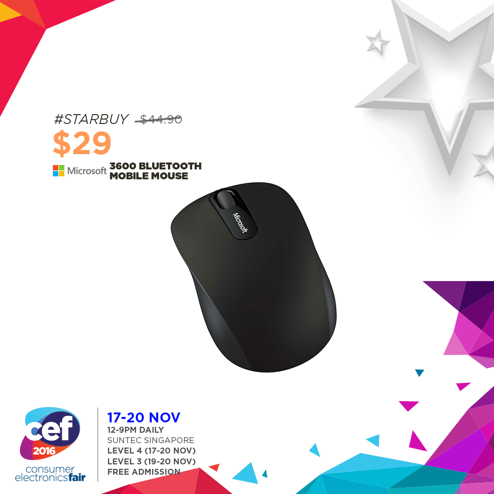 Microsoft 3600 Bluetooth Mobile Mouse Consumer Electronics Fair 2016 17 20 Nov 12 9pm Suntec Singapore